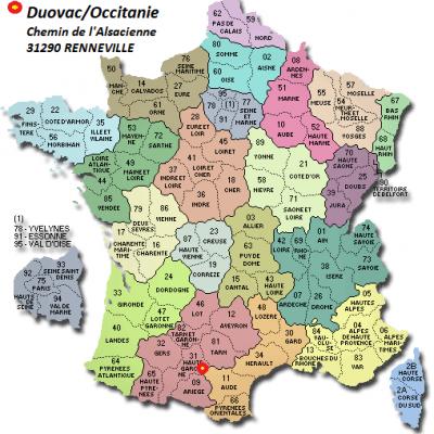 Carte france departements occitanie